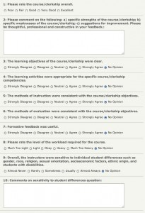 Standardized Course Evaluation Form